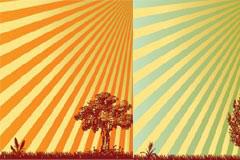 3款放射线背景树木彩色剪影矢量素材