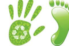 一款环保主题的绿色手掌和脚丫矢量素材
