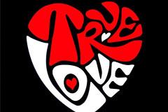 True Love文字组成的心形矢量素材