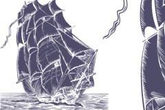一款精致的帆船钢笔画矢量素材