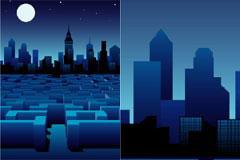 月光下的迷宫和建筑矢量素材