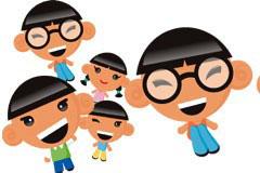 可爱卡通儿童角色矢量素材