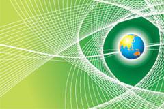 一款清新的绿色地球与线条背景矢量素材