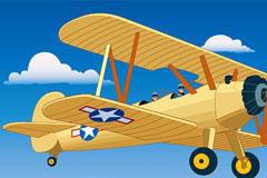 卡通风格飞机与小轿车矢量素材