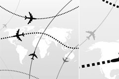航空飞机飞行路线矢量素材