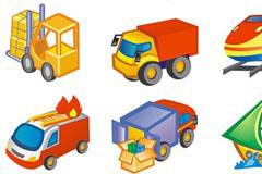 可爱卡通风格交通工具图标矢量素材