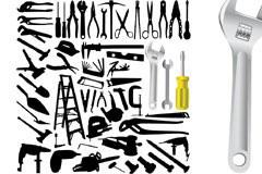 多款家庭常备工具剪影矢量素材