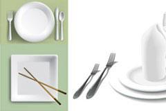 白色陶瓷餐具矢量素材