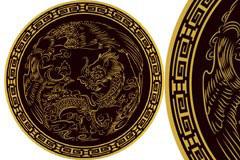 中国古典龙纹圆形瓷盘矢量素材