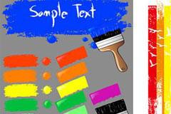 各种颜色的油漆和油漆刷矢量素材
