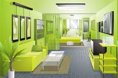 一款绿色清新的客厅设计效果图矢量素材