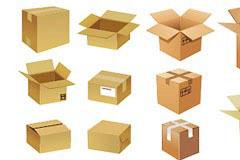 立体纸箱和常见纸箱标志矢量素材