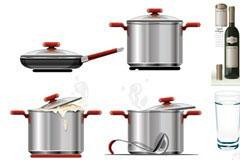 各种锅子和红酒矢量素材