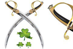 瑞士刀和绿叶矢量素材