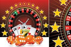 色子与扑克牌矢量素材