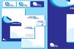 一款简单大方的蓝色企业VI模板矢量素材