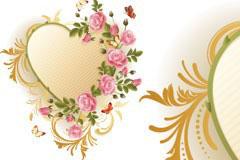 精美的粉红玫瑰花装饰心形矢量素材