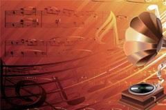 留声机音乐和音符矢量素材