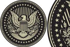 刻有雄鹰图案的欧美纪念章矢量素材