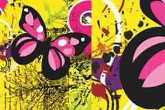 彩蝶与枯树潮流背景矢量素材