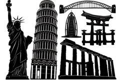 世界各地著名建筑矢量素材