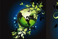 长满绿色植物的地球矢量素材