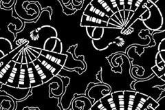日式风格折扇花纹平铺背景矢量素材