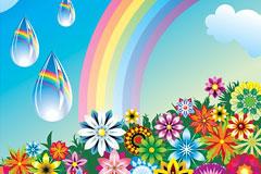 缤纷花朵和彩虹矢量素材