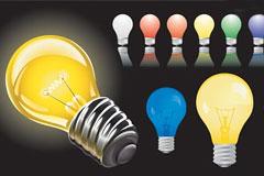 写实风格彩色灯泡矢量素材