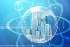 气泡中的建筑蓝色商务卡片背景矢量素材