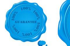 一款蓝色质量保证标志矢量素材
