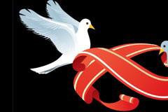 鸽子和红色丝带矢量素材