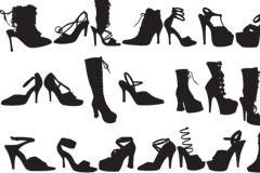 多款女性时尚高跟鞋剪影矢量素材