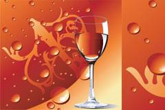 红酒与红酒杯矢量素材