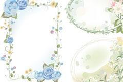 四款鲜花花纹边框EPS矢量素材