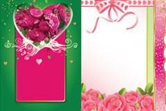 几款玫瑰花心形花纹EPS矢量素材