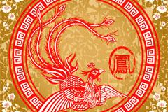 中国古典凤凰图案矢量素材