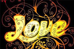 流行花纹LOVE字体设计矢量素材