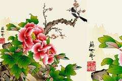 一款中国风格花鸟工笔画矢量素材