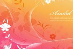 梦幻植物花卉蝴蝶背景矢量素材