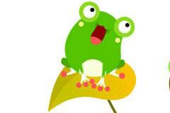 可爱卡通绿色青蛙矢量素材