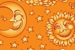 可爱太阳星星月亮装饰背景矢量素材