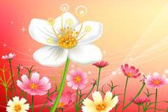 花朵梦幻背景矢量素材
