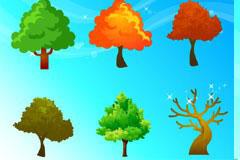 四季树木和梦幻背景矢量素材