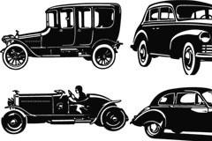 4款怀旧风格老式老爷车矢量素材