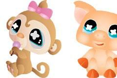 超可爱卡通小猴小猪和小狗矢量素材