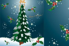 梦幻圣诞树矢量素材