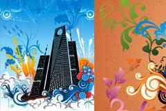 2款建筑和潮流花纹插画矢量素材