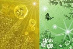 几款梦幻传统花卉花纹背景矢量素材