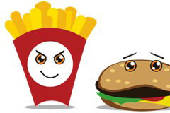 有趣的卡通快餐食品矢量素材